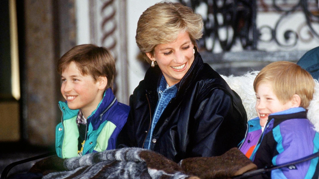 Princess Diana with young William and Harry in a sleigh