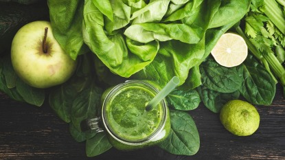 apple, lime, spinach, and green juice