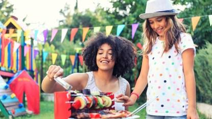 family summer fun backyard grill