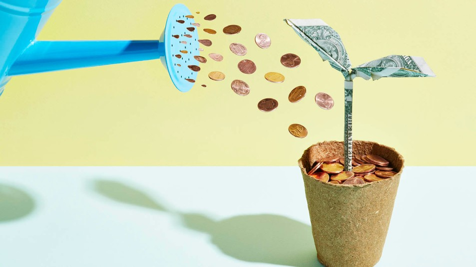 pennies coming out of watering can