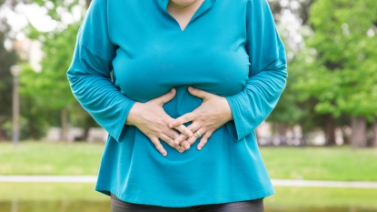 woman in digestive distress