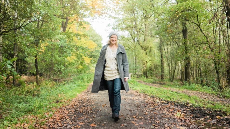 woman walking outdoors