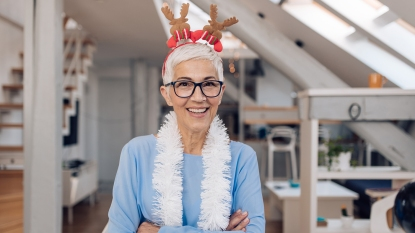 woman in the holiday spirit