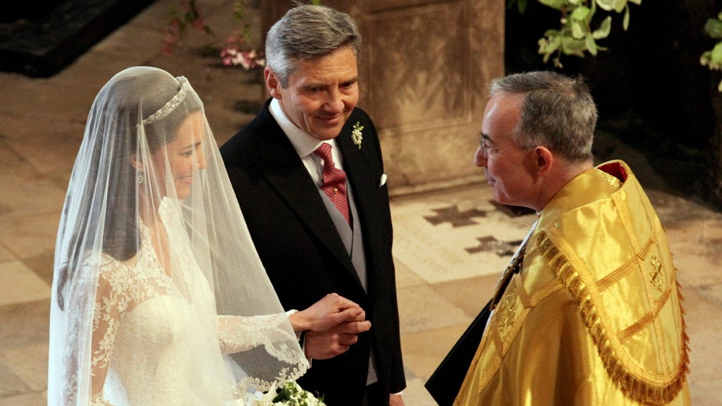 Kate Middleton and her father before she walks down the aisle