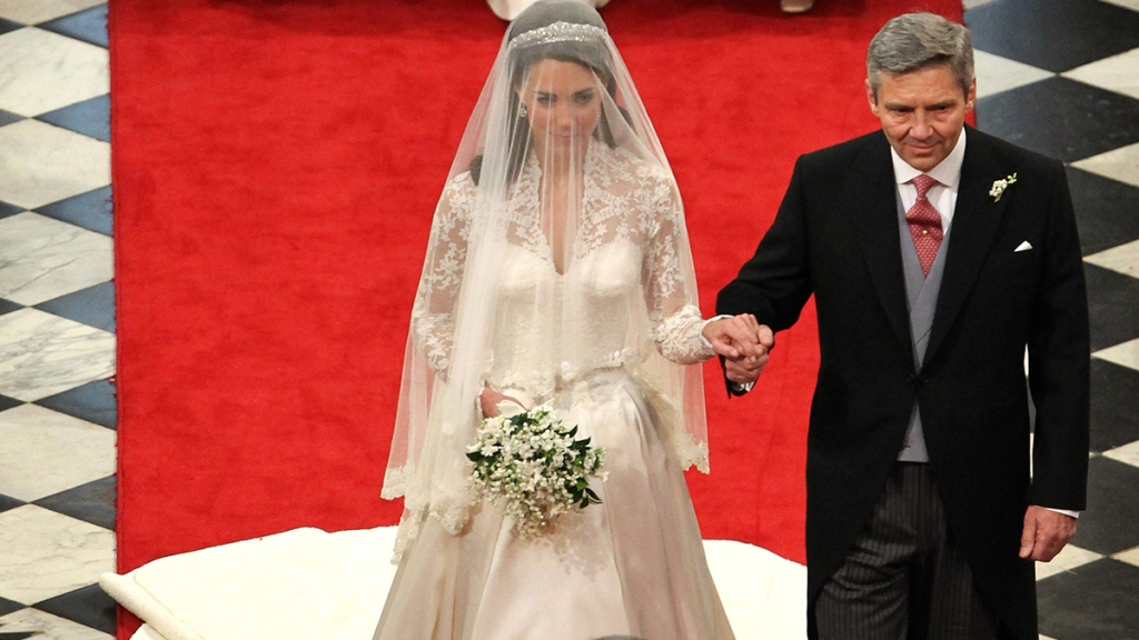 Kate's dad walking her down the aisle