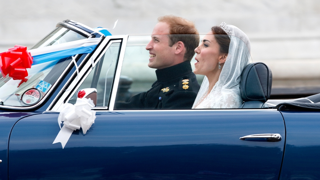 William and Kate driving off