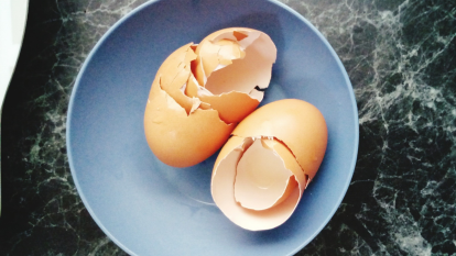 broken eggshells in a bowl