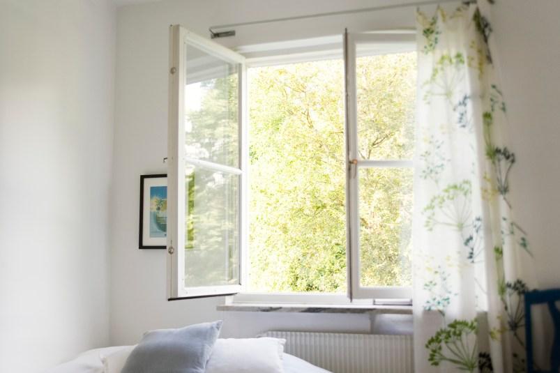open window with windy breeze