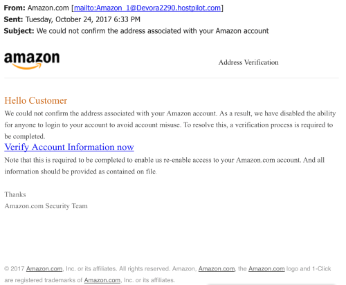 amazon scam email