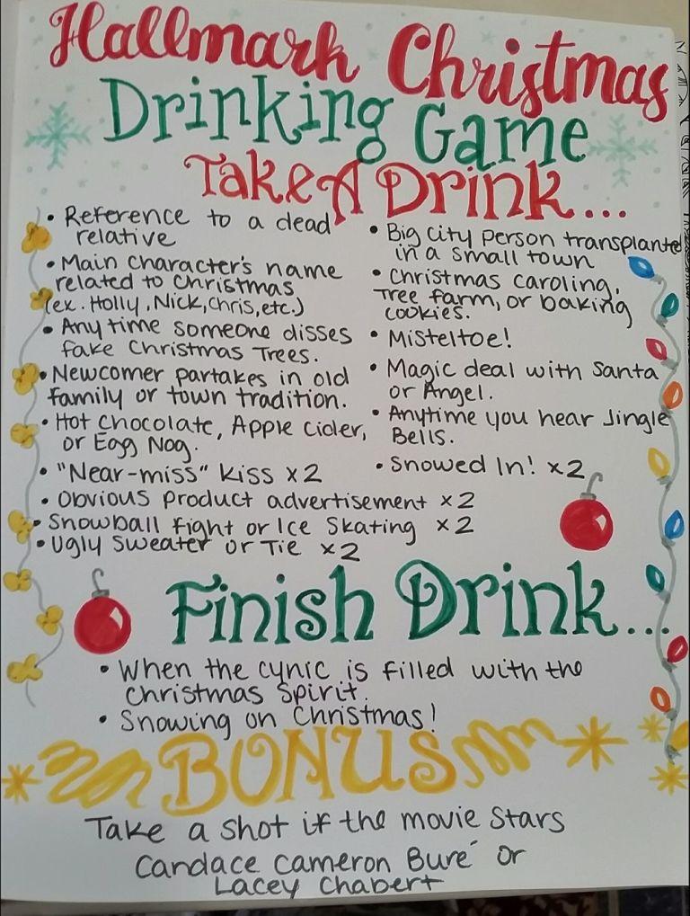Hallmark Christmas Movies Drinking Game