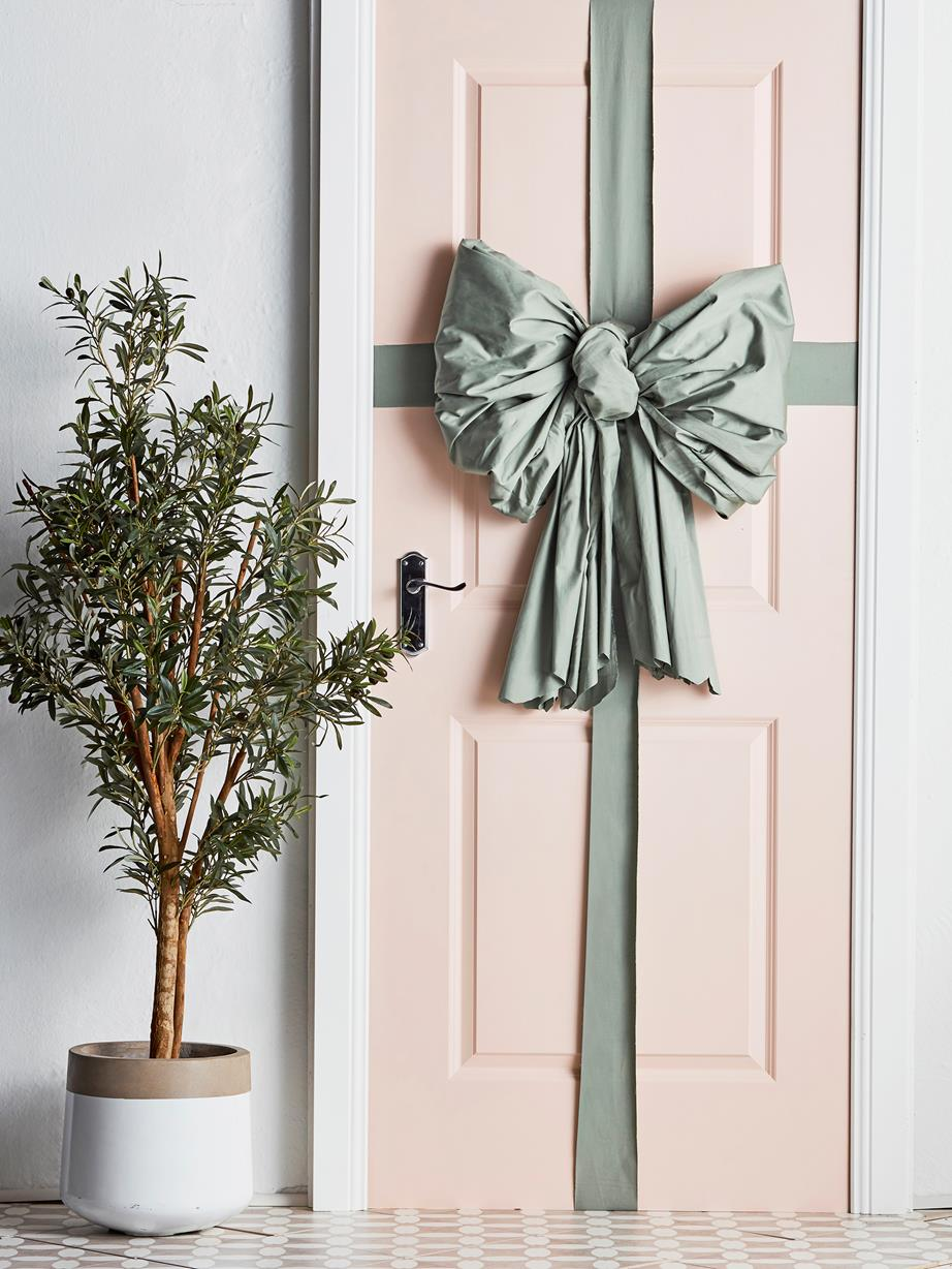 large bow on door