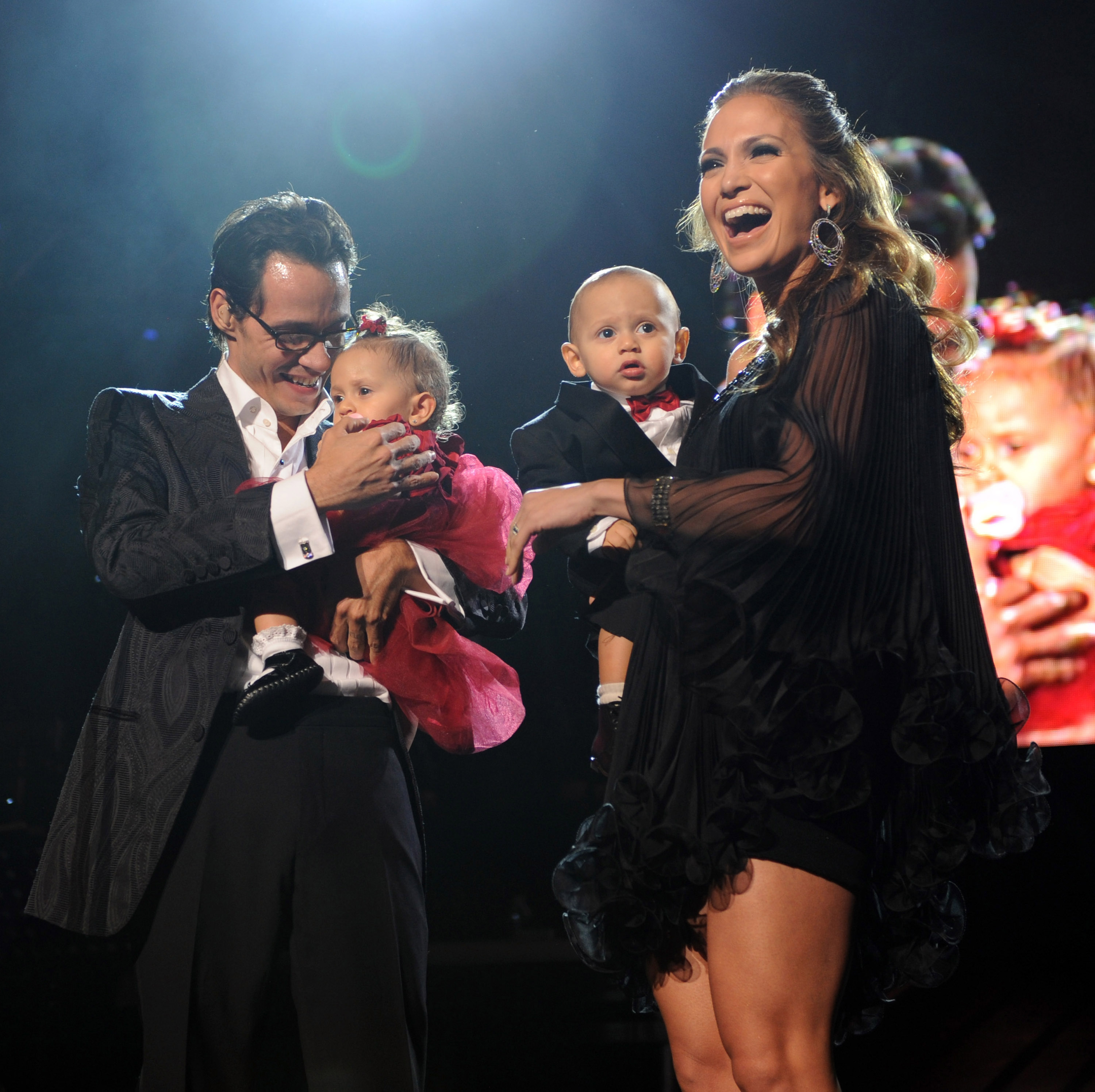 Jennifer Lopez, Marc Anthony, Emme, and Max Getty