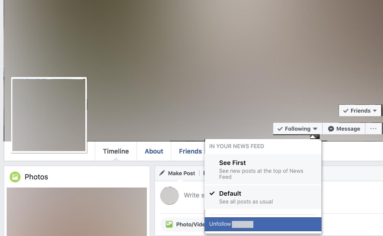 Facebook friend unfollow