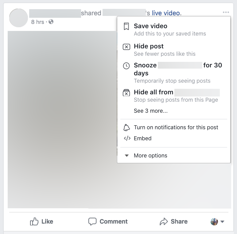 Facebook page unfollow
