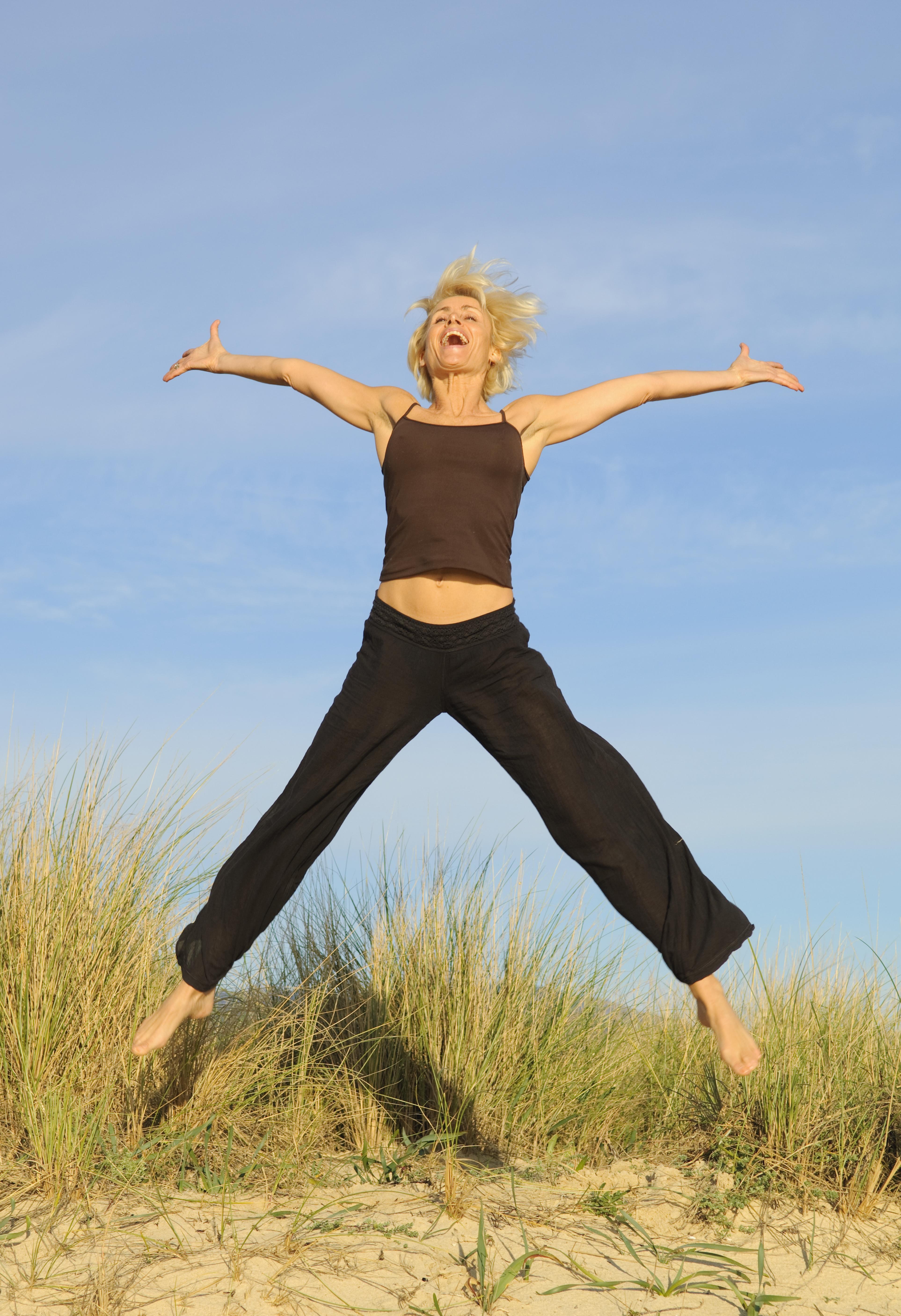 Happy woman excercising
