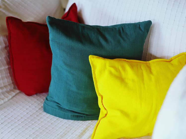 bright couch pillows