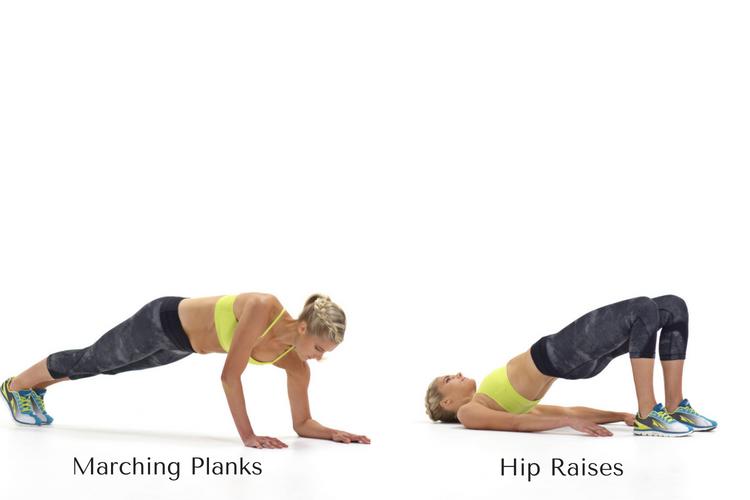 Marching Plank & Hip Raises
