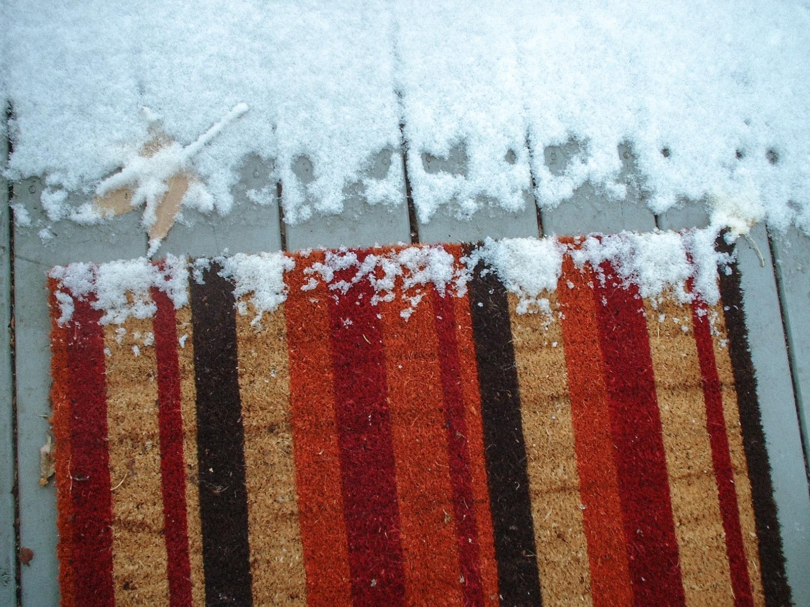 snow on doormat