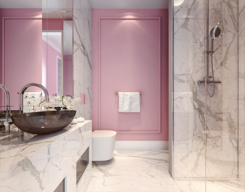 millennial pink bathroom