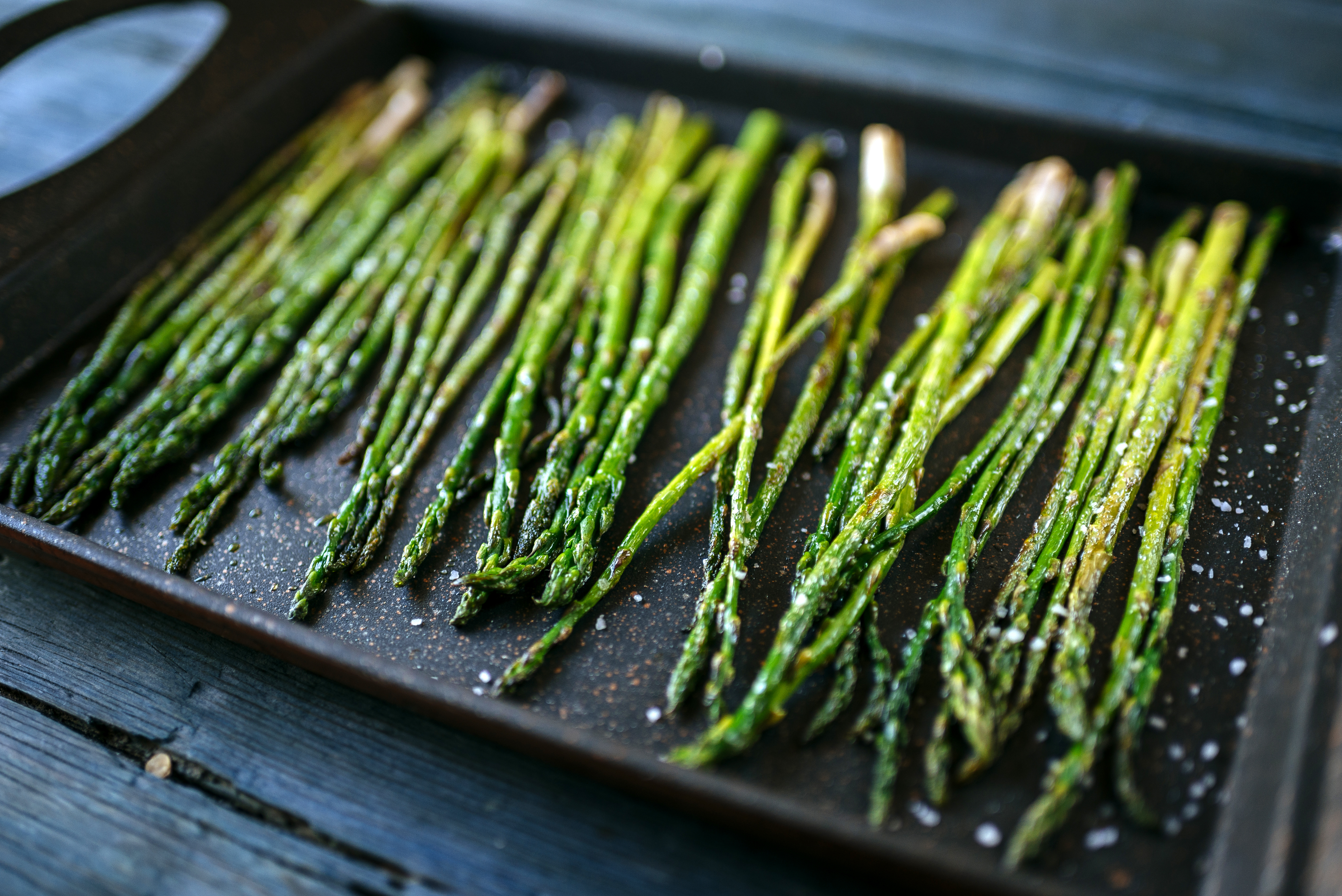asparagus on a tray