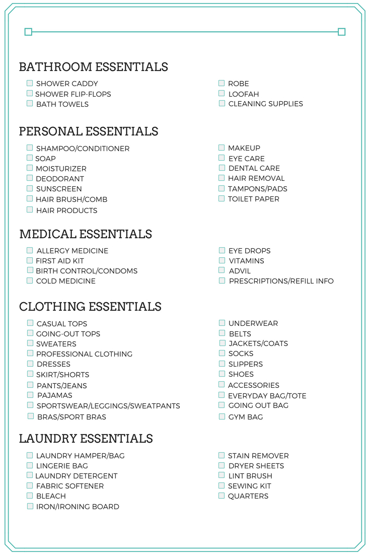 Best College Packing List for Guys and Girls Page 2 Checklist